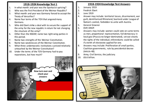 AQA Democracy and Nazism Year 1 Knowledge Tests - 1918-1933