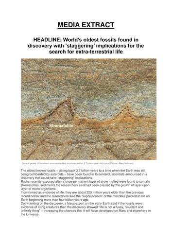 MEDIA EXTRACT - THE WORLD'S OLDEST FOSSILS