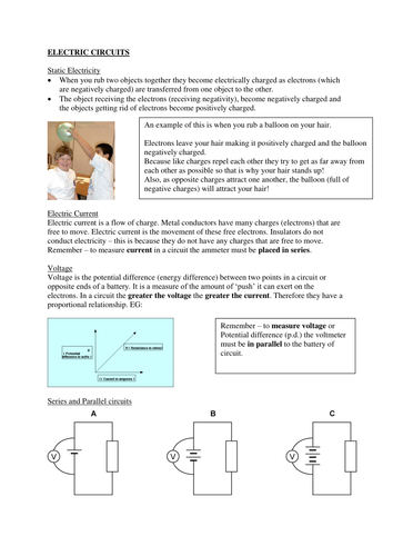 GCSE Physics - Electric circuits revision document for Y10/Y11
