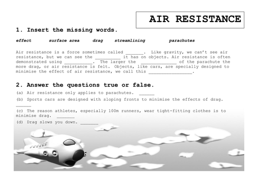 Physics KS3 - worksheet for matching key words on air resistance and forces