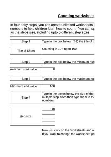 Counting number sequences worksheet generator