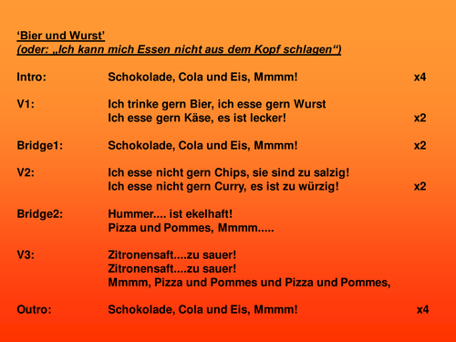 Bier und Wurst (Singing in German about food)