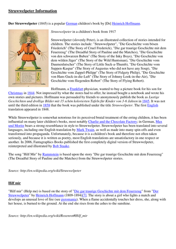 Rammstein Hilf Mir / Struwwelpeter Listening and Reading Tasks