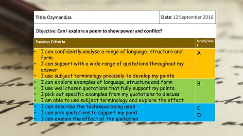 Power and Conclict - Ozymandias Revision Lesson