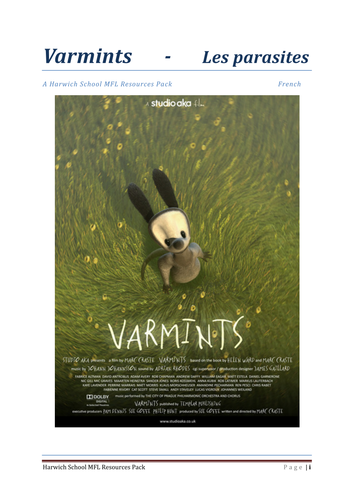 Varmints French Activity Booklet