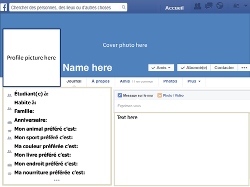 facebook display profile template by prof de francais teaching