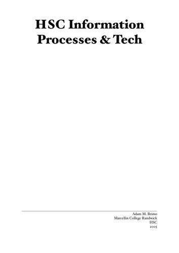 HSC Information Process and Technology IPT Notes