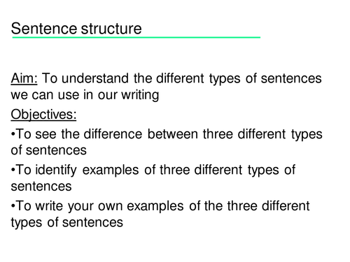 An introduction to simple, compound and complex sentences with presentation, handouts & worksheets