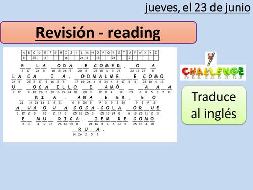 LA COMIDA - reading revision lesson