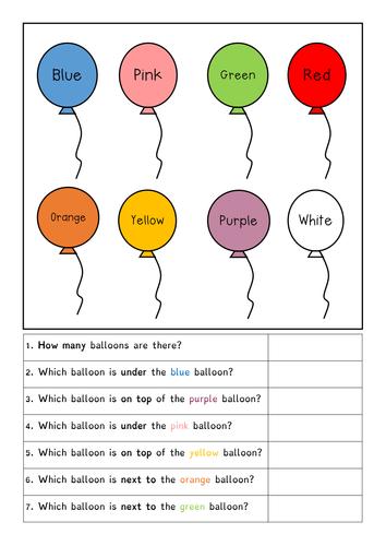 Positional Language - balloons, SEN, autism, S&L