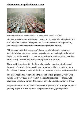 Chine nouvelles mesures anti-pollution