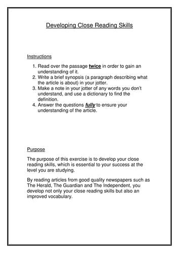 Close Reading Skills Development