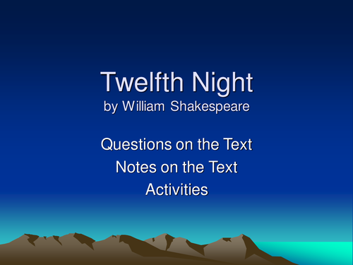 William Shakespeare's Twelfth Night: Act One Questions and Activities