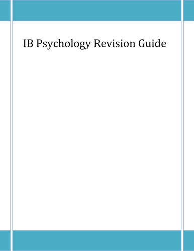 IB International Baccalaureate Psychology revision Guide