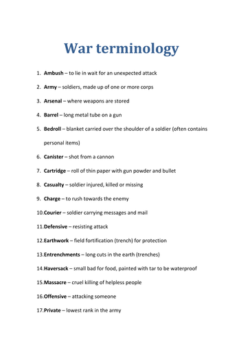Creative writing essay about war