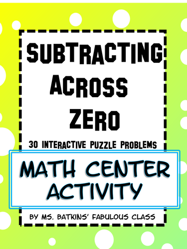 subtracting across zero math station activity by msbatkinsclass teaching resources. Black Bedroom Furniture Sets. Home Design Ideas