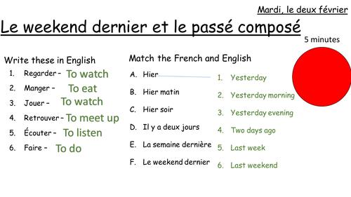 Le passé composé et le weekend dernier -  describing weekend activities using the passé composé