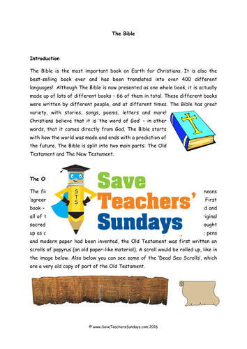 The Bible KS1 Lesson Plan and Worksheet