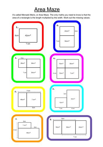 Examples of  Menseki Meiro, or Area Maze problems.