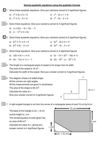 Using The Quadratic Formula By Mizzhappy Teaching Resources Tes