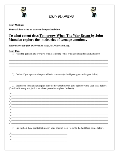Essay Planning Booklet - Tomorrow When the War Began