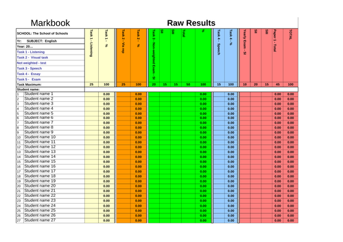 Mark Book Spreadsheet - Calculates marks, means, weighted ranks, progressively weighted marks
