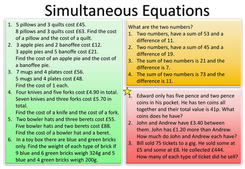 Forming and solving linear simultaneous equations