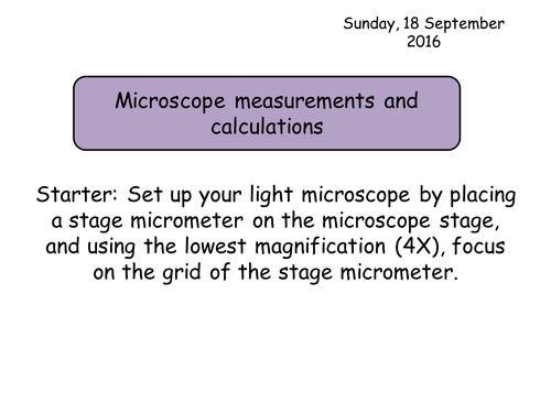 Section 2. Cells. 3.3 Microscope measurements and calculations NEW Year 12 Biology specification