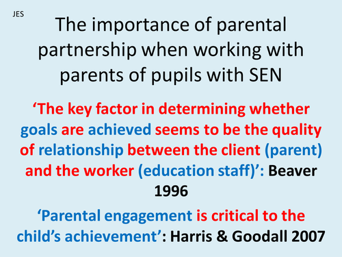 Staff training CPD presentation - the importance of engaging parents of pupils with SEN
