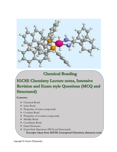 IGCSE Chemistry Chemical Bonding Chapter Notes and Exam Style Questions