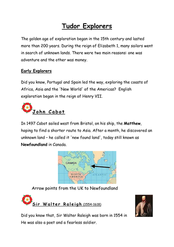 Tudor Topic Non-Chronological Report Writing examples for English Year 5