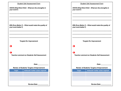 Student Self Assessment Form - with Teacher feedback and Target Review