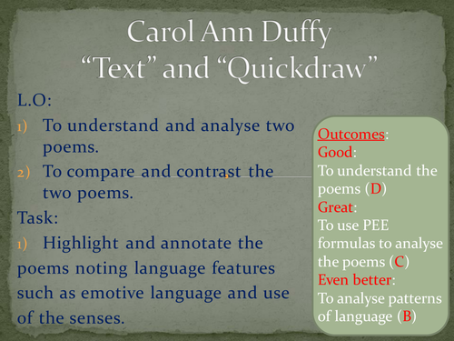 which statement offers the best comparison of the two poems
