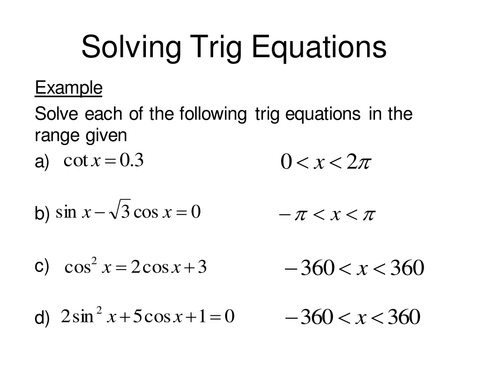 Solving Trig equations continued by sjcooper Teaching Resources – Trig Equations Worksheet