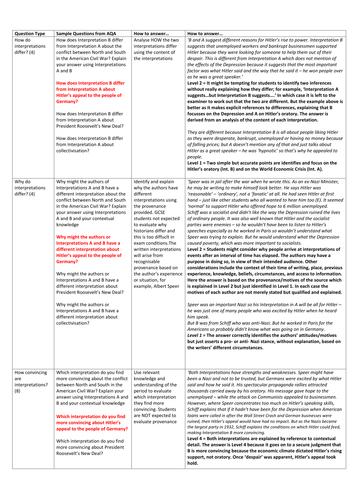 AQA GCSE History (9-1) Paper 1 Exemplar Answers