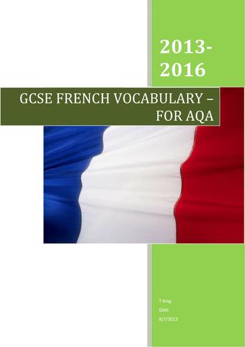 GCSE French AQA Vocabulary