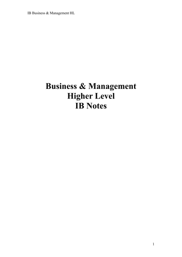 IB Business Management Revision Notes