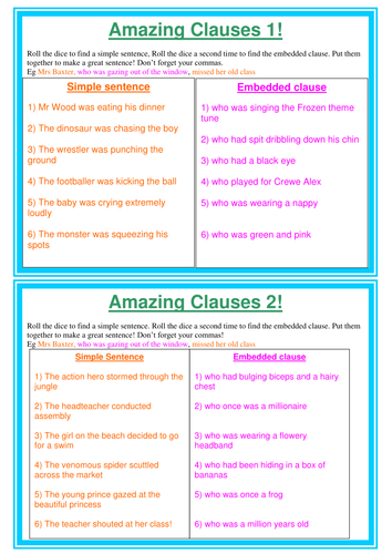 Embedded / relative clauses by ksb | Teaching Resources