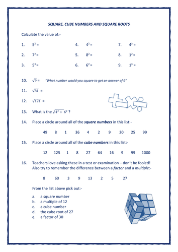 Squares, Cubes and Square Roots