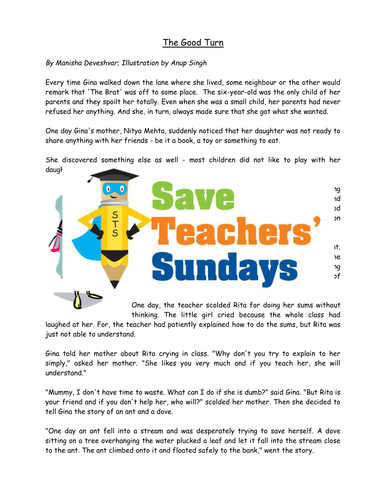 Year 3/4 Short Story Comprehension Lesson Plan, Text and Worksheets 3