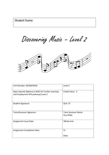 Open Awards - Level 2 - Discovering Music - Unit M5044630