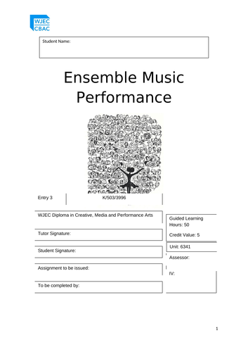 WJEC -Entry 3 - Ensemble Music Performance - Unit 6341