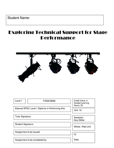 BTEC Level 1 Performing Arts - Exploring Technical Support Unit 10