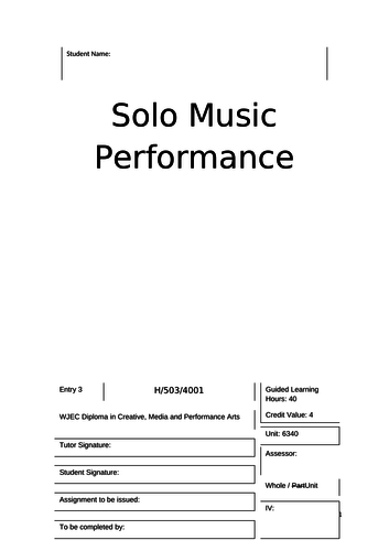 WJEC - Entry 3 - Solo Music Performance - Unit 6340