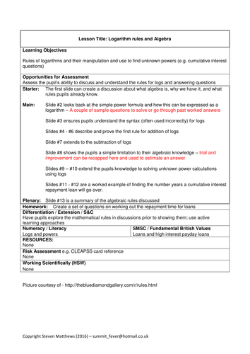A-Level Physics / Maths - Logarithms rules and algebra (Lesson plan and PowerPoint)