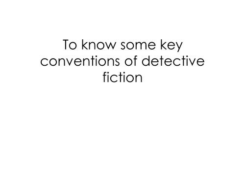 KS3 Detective Fiction and Creative Writing Complete SOW