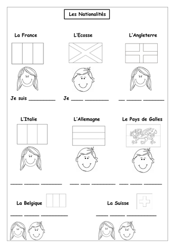 French - Countries and Nationalities Worksheet