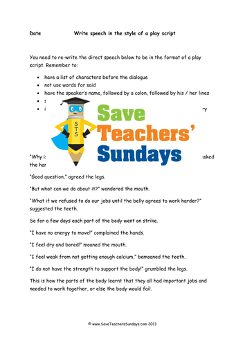 Play Script Dialogue Lesson Plan and Worksheets