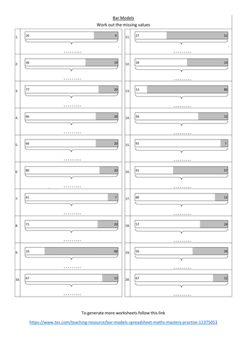 Bar Models worksheet, maths mastery practise