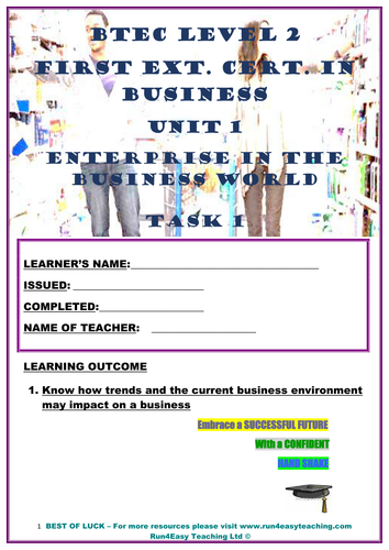 WORKSHEET– ENTERPRISE IN THE BUSINESS WORLD –P1 (UNIT 1 - BTEC L2 FIRST EXT. CERT. IN BUSI.)